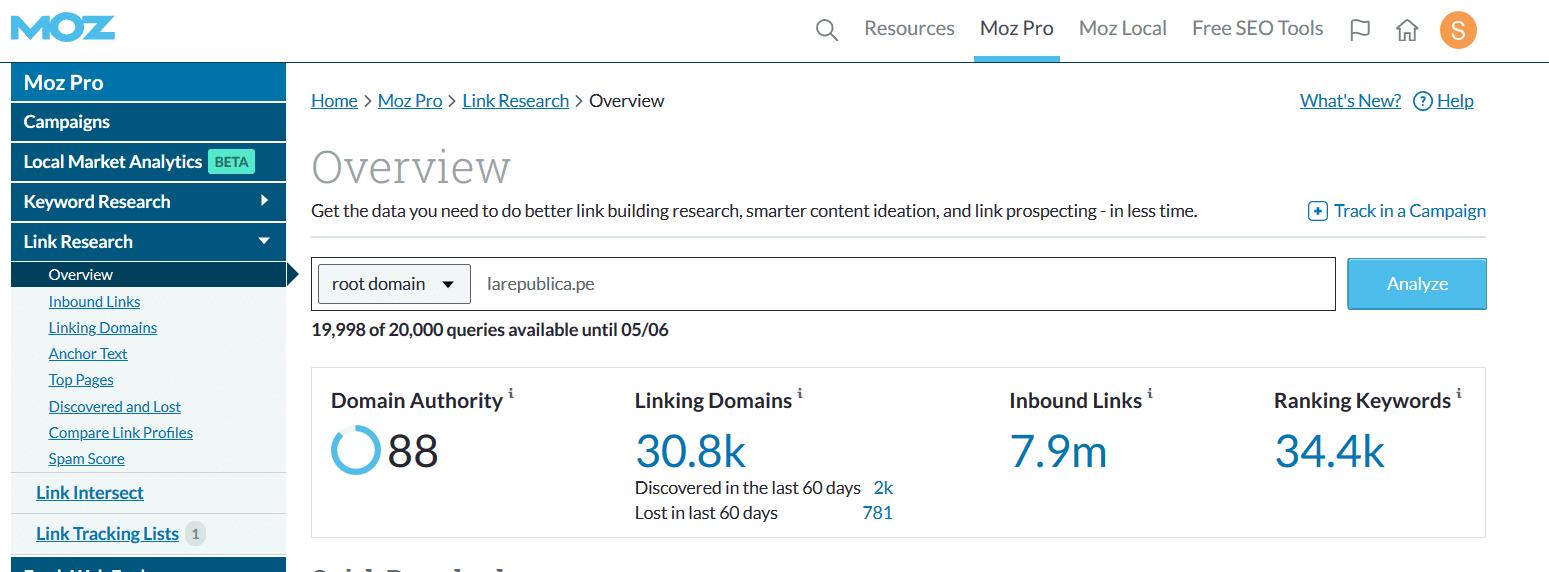 link explorer de moz, herramienta SEO para verificar la autoridad de un dominio o pagina