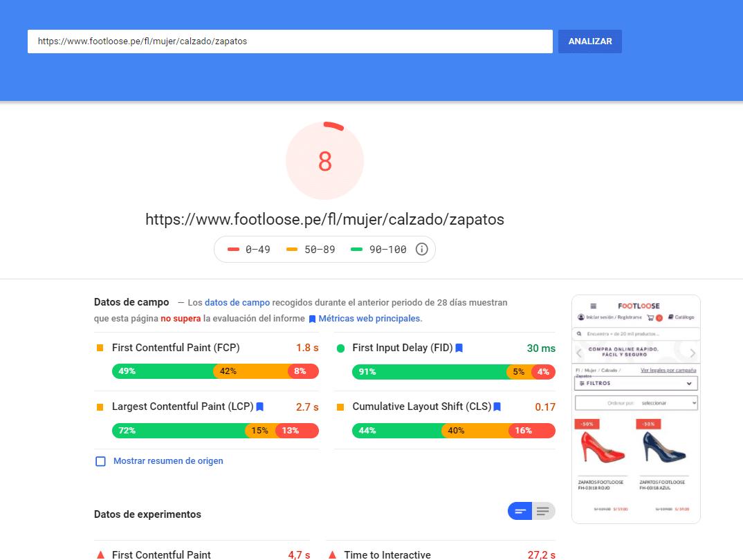 puntuación en pagespeed para el primer resultado de zapatos en google