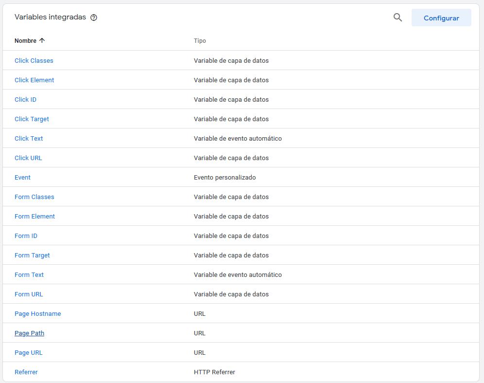 variables integradas en google tag manager