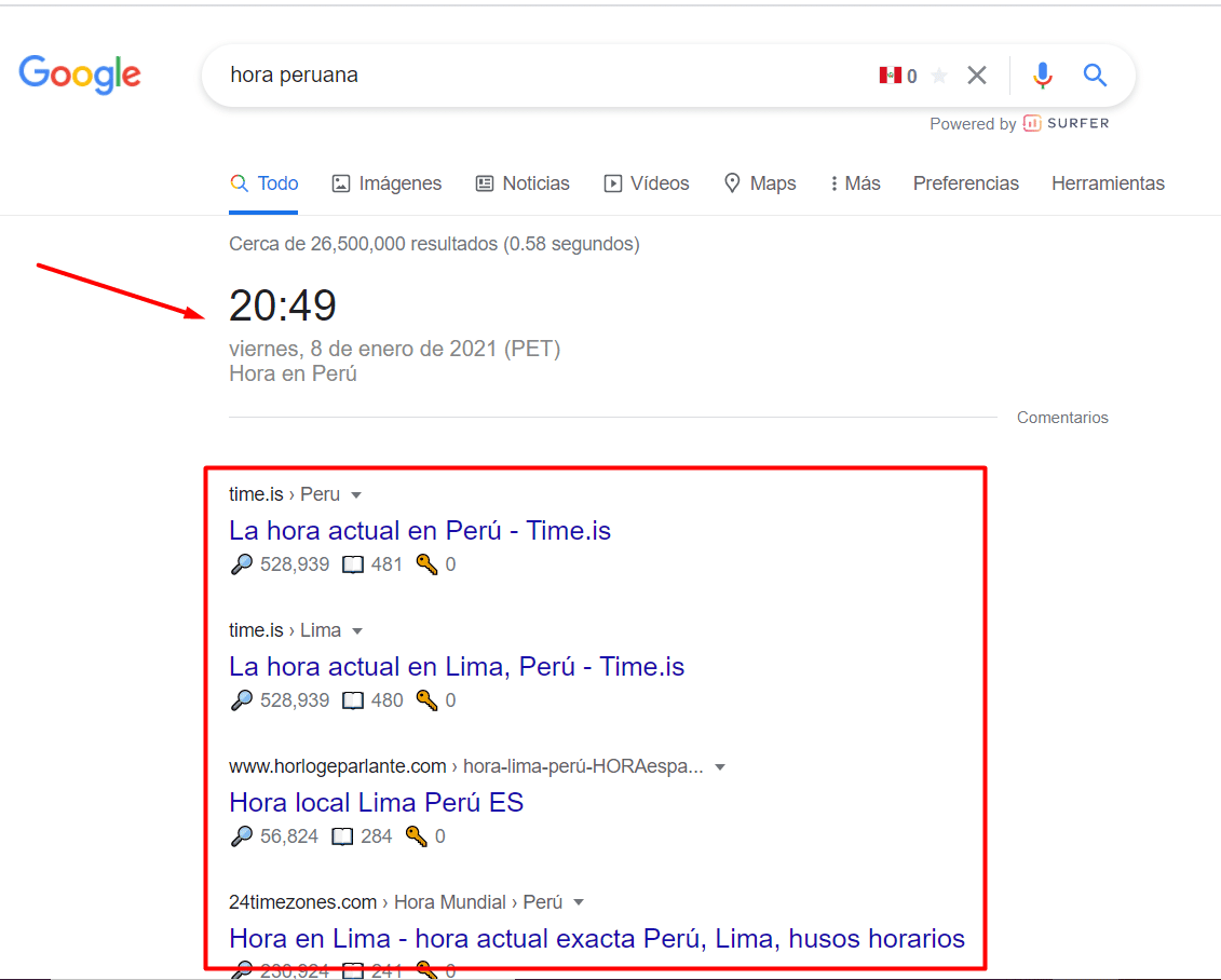 serp feature time country
